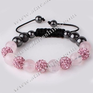 Shamballa Bracelet, 10mm round pink clay rhinestone & rose quartz beads, adjustable        Item No.:SN014734      Shop price: US$5.94 - US$6.99