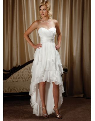 Chiffon Sweetheart Tiers Ruffle High Low Wedding Dress. Beach wedding dress
