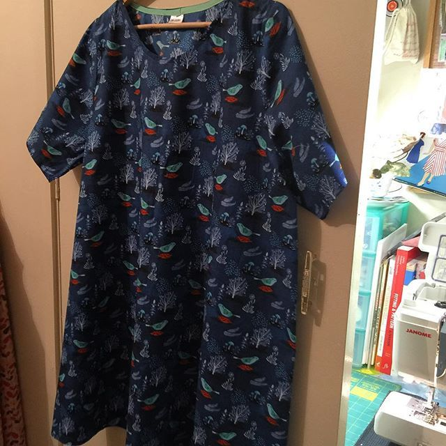 """#100actsofsewing #dressno2 in @cloud9fabrics #geninne organic cotton from @spotlightstores. All my faves in one design, birds & trees!  Sewn whilst watching """"Miss Potter"""". Good Night"""