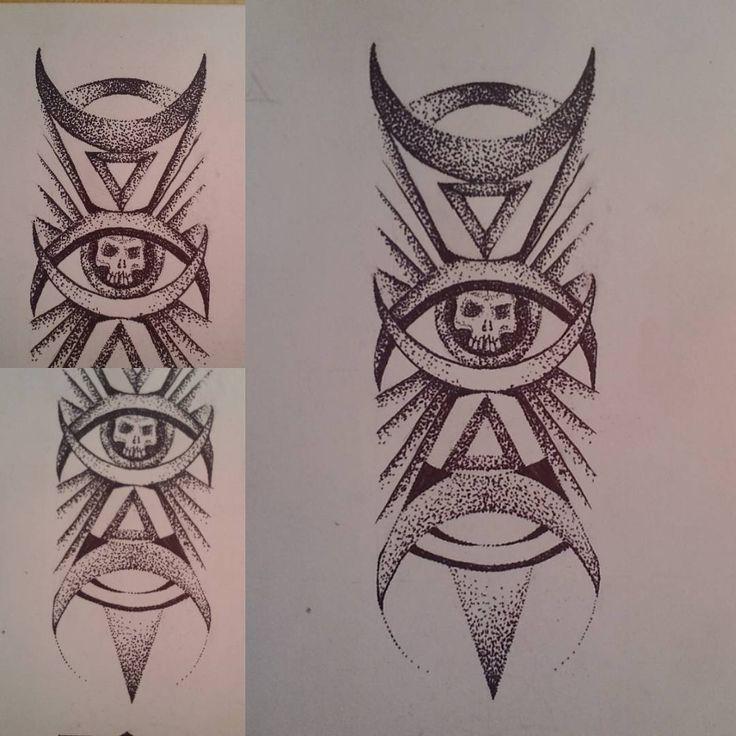 Skullhead, boomarks, or tatto sleeve design  FB: https://www.facebook.com/cipananatalia #skull #tattoodesign #dotwork #geometry #geometrytattoo #sleevetattoo #armtattoo #armtattoodesign  #halfmoon