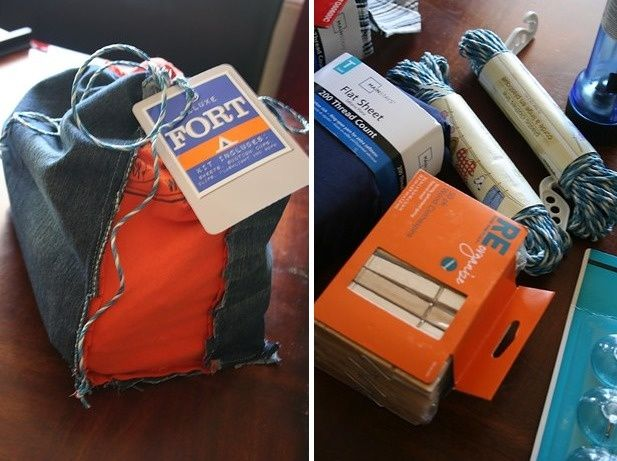 Homemade Fort Kit - Create a homemade fort kit for a child! What you'll need to include are small suction cups, a clothes line, a package of clothes pins, clamps, flat sheets, and a matching flashlight.