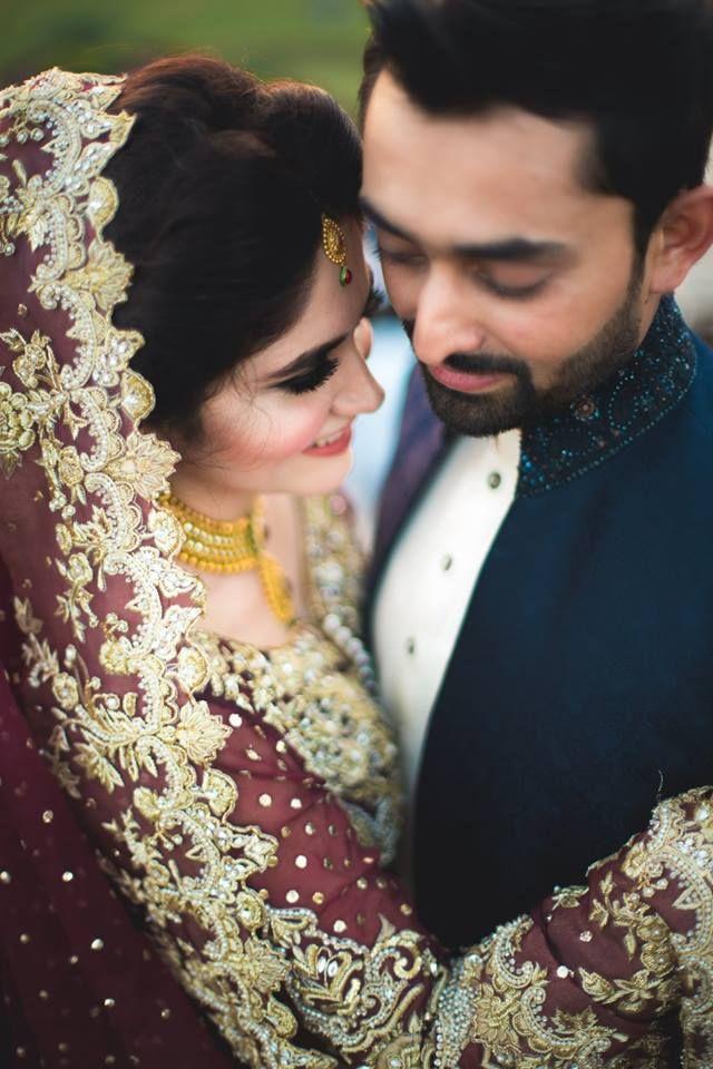 pakistani married couple mr and mrs indian wedding lengha purple maroon
