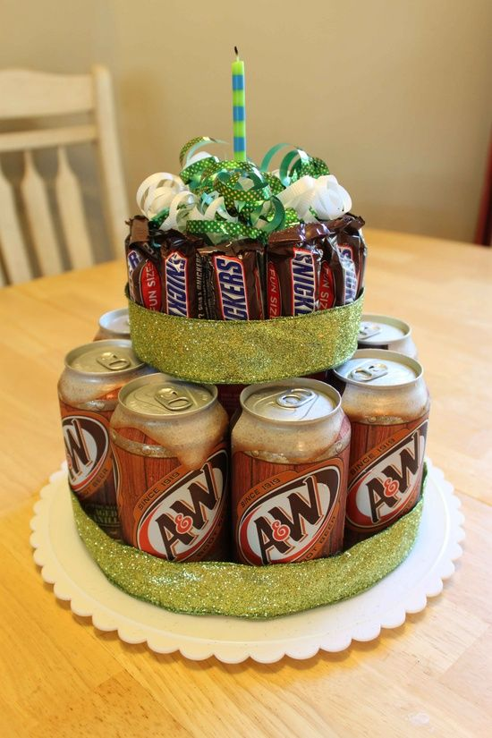 Fun Birthday Cake Gift. My boy would have Pokka Lychee Tea around the bottom layer, and a bundle of Milky Ways on the top layer, topped off with Ferrero Rochers!