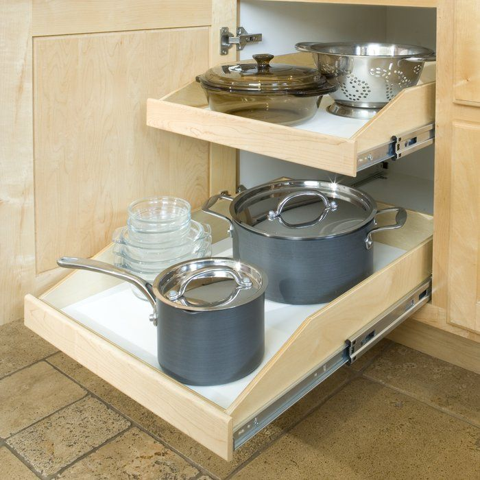 Increase the usable storage space of the existing cabinets in your kitchen, bathroom, laundry room, linen closet or garage by installing poly-urethane coated Baltic birch slide-out shelves. You will never again have to bend or stoop or get on your hands and knees to reach items you store. With full extension, heavy-duty ball bearing slides, your cabinet contents slide smoothly out for easy access. They utilize dado and rabbet joint construction for superior strength and are maintenance free…