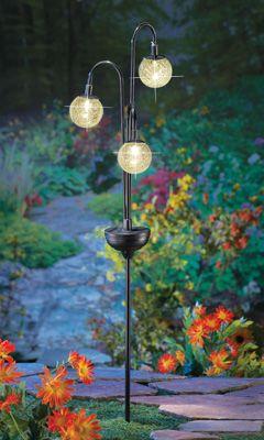 141 best solar powered lighting images on pinterest set of solar crackled glass globe lights solar garden stake backyard lighting ideas workwithnaturefo