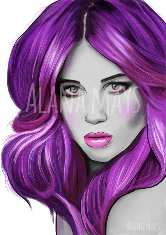 Purple hair lady A2 23.4 x 16.5 inches by AlanaMaysCreations, purpel hair, female portraiture, salon art, hairdresor art, printable wall art, etsy business, $15 for an A5, fashion illustration