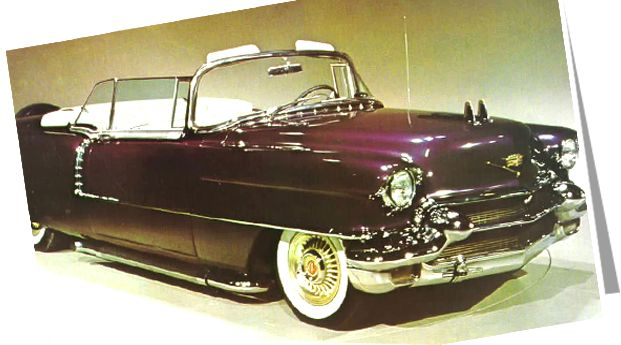 Elvis Presley's 1956 Cadillac Eldorado:  Elvis is said to have squashed a handful of grapes on the fender to describe the color he wanted.