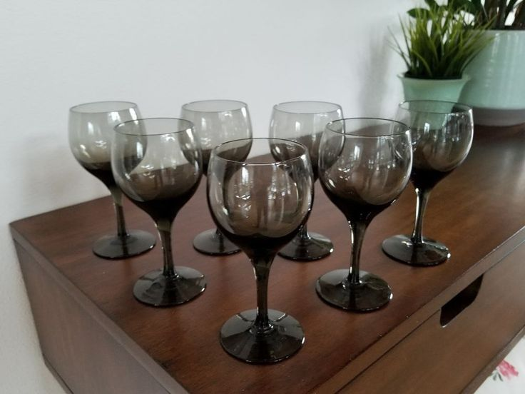 SET of 6 Vintage Mid Century Stemmed Cordial *Smoke Gray/Grey* Drinking Glasses