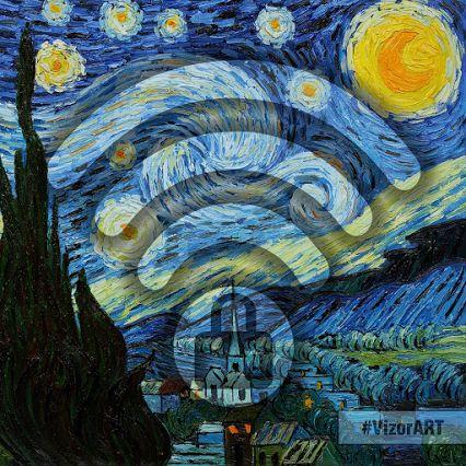 #VincentVanGogh Pintor postsimpresionista. El cuadro muestra la vista exterior durante la noche desde la ventana del cuarto del sanatorio de Saint Rémy de provence , donde recluyó hacia el final de su vida. #VizorArt