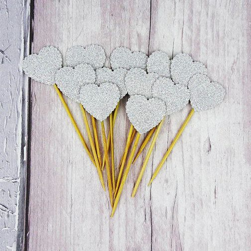 Silver glitter heart cupcake toppers Scalloped heart cake