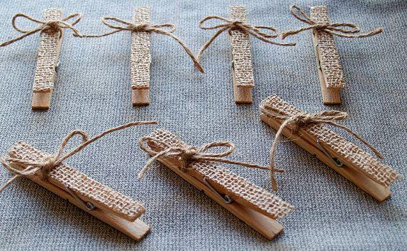 10 Decorative burlap Clothespins