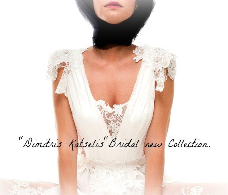 "White wedding dress with lace details - ""Dimitris Katselis"" bridal new collection."
