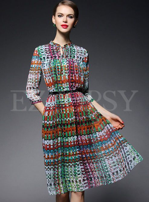 Shop for high quality Print Mesh Slim A-Line Dress online at cheap prices and discover fashion at Ezpopsy.com