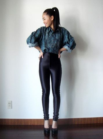 Meijia S - Vintage Green Shirt, American Apparel Disco Pant, Online Black Pumps - Green shirt