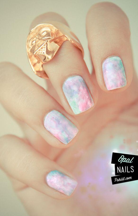 Tuto vidéo nail art // Aquarelle pastel & pierres précieuses | PSHIIIT
