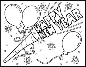4 FREE Printable New Year's Coloring Pages