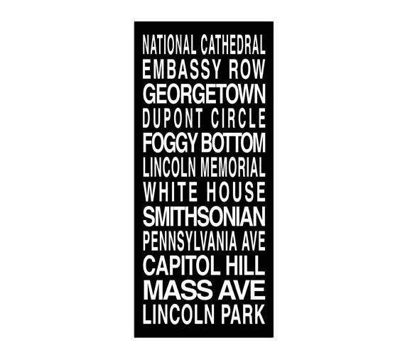 Washington DC Destination Roll / Subway Scroll / Tram Banner / Bus Schedule 22in x  50in - Ready to Hang
