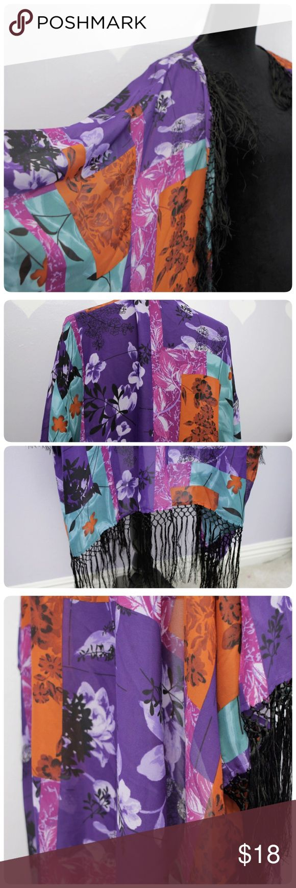 Plus Size Multicolour Fringe Cardigan Excellent condition fringe cardigan. ❤polyester❤Length up to the fringe 42❤Sleeve 19❤Size label is 34W❤                                            🐼Stock DB🐼 Roaman's Sweaters Cardigans