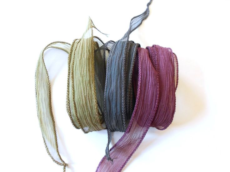 Hand dyed Silk Ribbon for bracelet necklace - Set of 3 - sepia - taupe - blackbrown by Schalrausch on Etsy https://www.etsy.com/listing/202327413/hand-dyed-silk-ribbon-for-bracelet