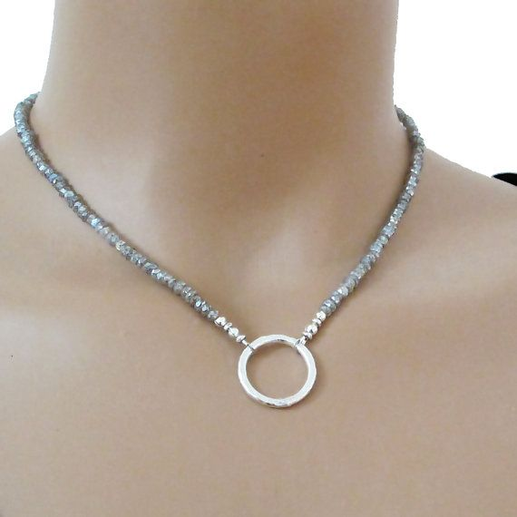 Mystic Labradorite Necklace Sterling Silver Circle of by DJStrang