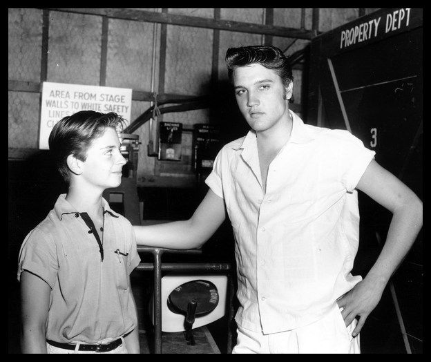 Elvis Presley with 14-year-old Tommy Rettig (aka Jeff Miller in Lassie from 1954-1957) on the set of Love Me Tender, September 1956