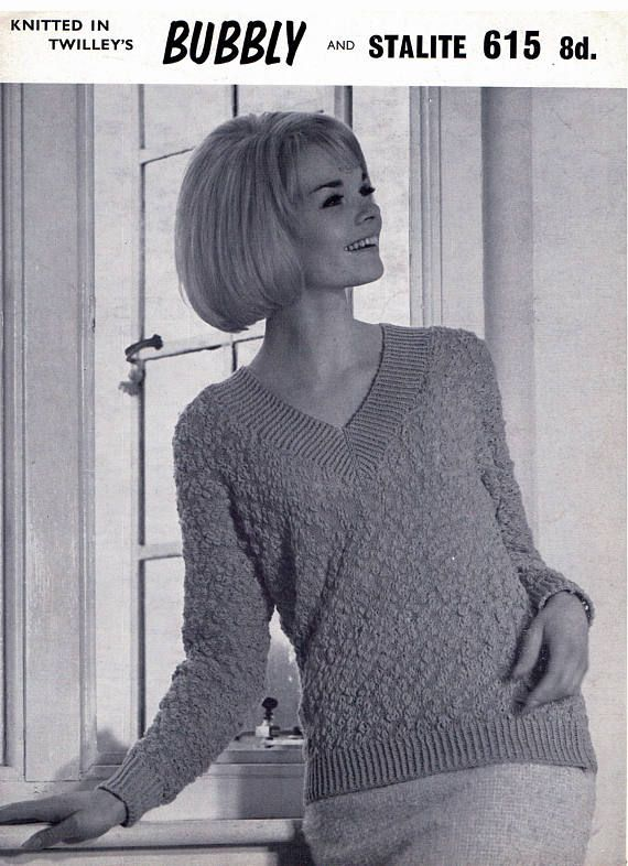 PDF Vintage Womens Ladies Knitting Pattern EASY 1960s Twilleys