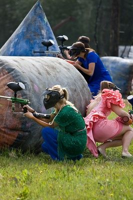 Find the worst bridesmaids dress you can find and play paintball for you bachelorette party. THIS IS AWESOME.