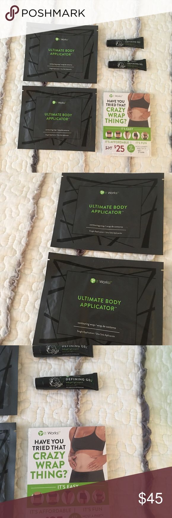 IT WORKS PRODUCTS It Works Products!!! The items listed below is what you get⬇️  2 Body wraps 2 Defining Gel Tubes 1 (25 pack) Blitz Cards  Everything you see in the photo is what you get. Each item is brand new. I'm a It Works distributor and looking to get rid of some extra stuff! You are getting a good deal because each body wrap is $25 a piece and I'm letting you have all of the items for $50.00!!!   Message me or comment below if you have questions! it works Other