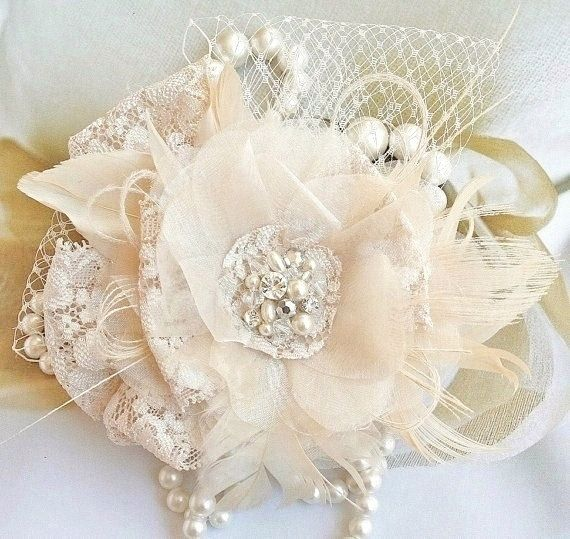 Bridal Fascinator, Wedding Headpiece, Bridal Hair, Flower, Blush, Ivory, Lace, Tulle, Feather, Crystal, Pearl, Wedding Hair Accessories on Etsy, $69.00