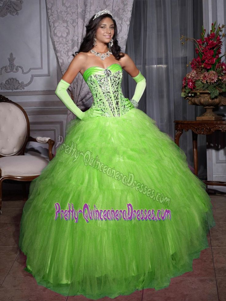Best Spring Green Beaded Sweetheart Quinceanera Gown with Ruffled Layers in Tulle