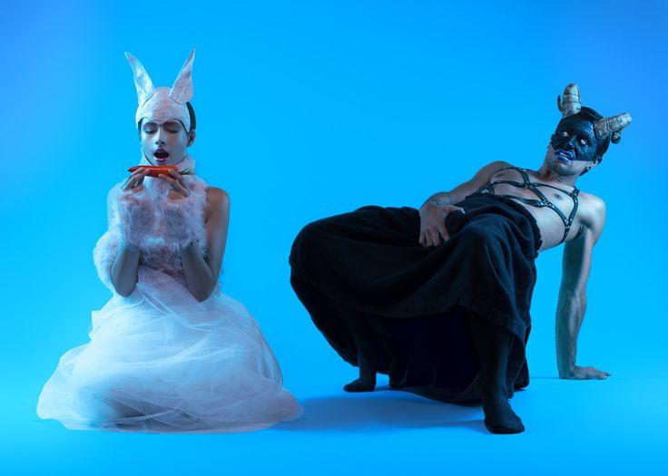 A CENOURA DO AZAZEL / foto + edição paul kurucz / modelos joão tapioca aka azazel, bruna menezes / styling natalia silvestre / dir. art. paul kurucz / roupas, acessorios azazel, natalia silvestre / beleza shooting dob/ra walter lobato, julia nunes, andressa pontes, gabriel ramos/  producão: diana daou + tamires melo + lara ferro #fashion #kolorrio #surrealism #blueart #art #paulkurucz #photography