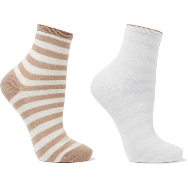 FALKE  Set of two striped cotton-blend socks (£9) ❤ liked on Polyvore featuring intimates, hosiery, socks, falke, falke hosiery, white hosiery, falke socks and stripe socks