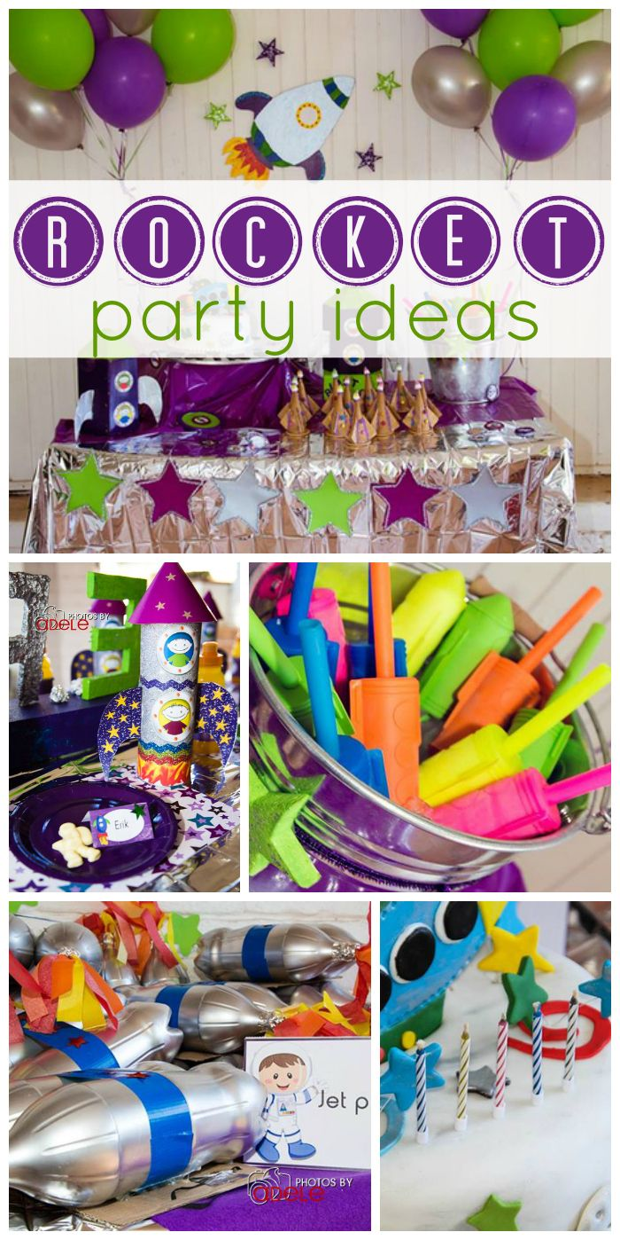 Space party for a boy birthday with fun activities, like building rockets, a moon rock hunt, and launching rockets!  See more party ideas at CatchMyParty.com!