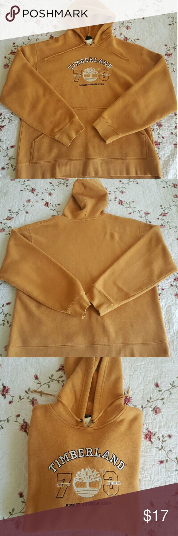 Timberland Hoodie This hoodie is a mix between honey and apricot orange color (probably brown to some). It is a medium and is in good condition, and the lettering on the jacket is perfectly in tact. It is probably one of my faves but someone else has to enjoy it now! Timberland Jackets & Coats