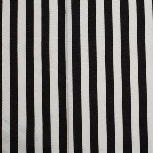 Black/White Striped Cotton Dobby