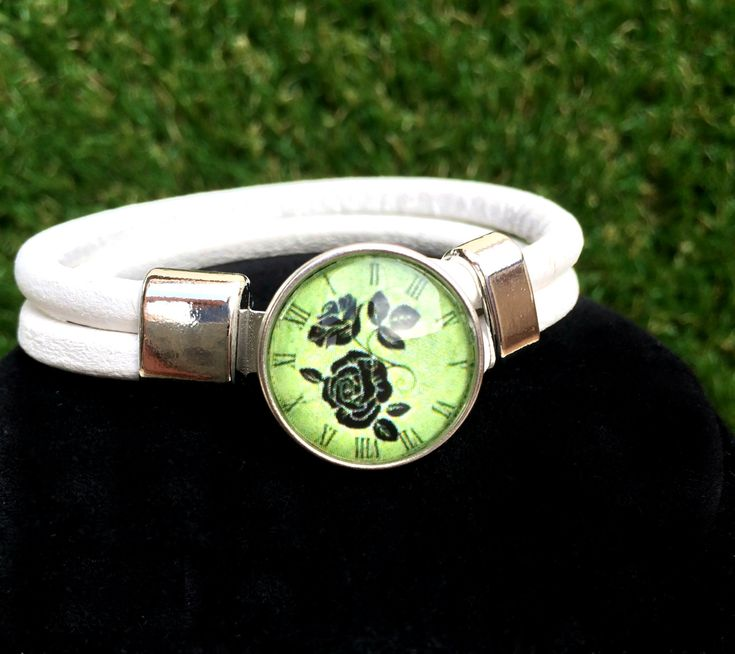 White Genuine Leather Bracelet Snap Jewelry Noosa Style, Ginger Snaps Jewelry Interchangeable Snap On Button Included. by Monibu on Etsy