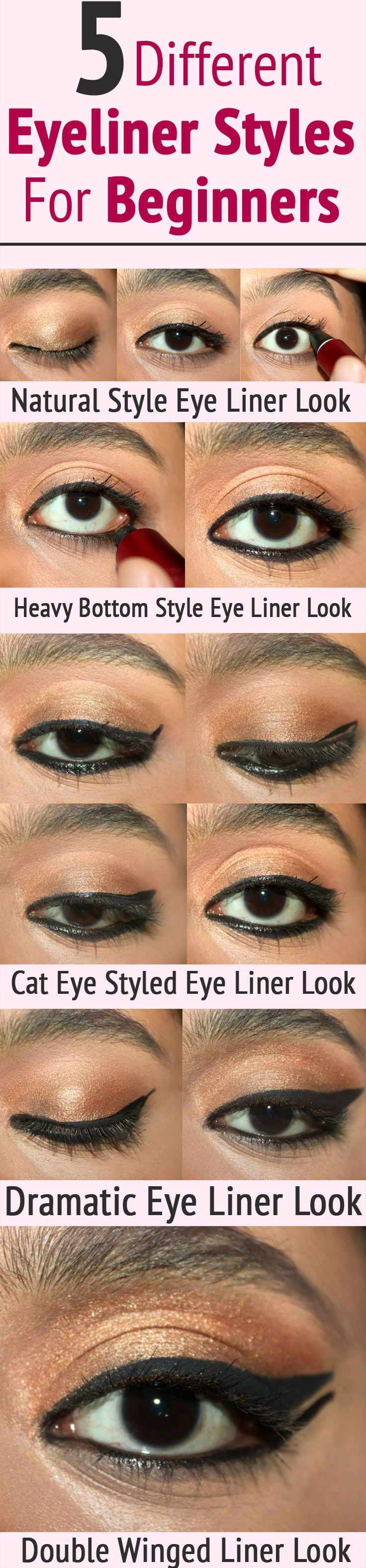 5 Different Eyeliner Styles For Beginners – Tutorial With Detailed Steps And Pictures