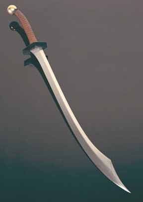 The Scimitar - The scimitar was a type of sword most commonly associated with the Saracens in the Holy Land who fought against the Crusaders. Scimitars had a distinct curved blade ending with a sharp point.