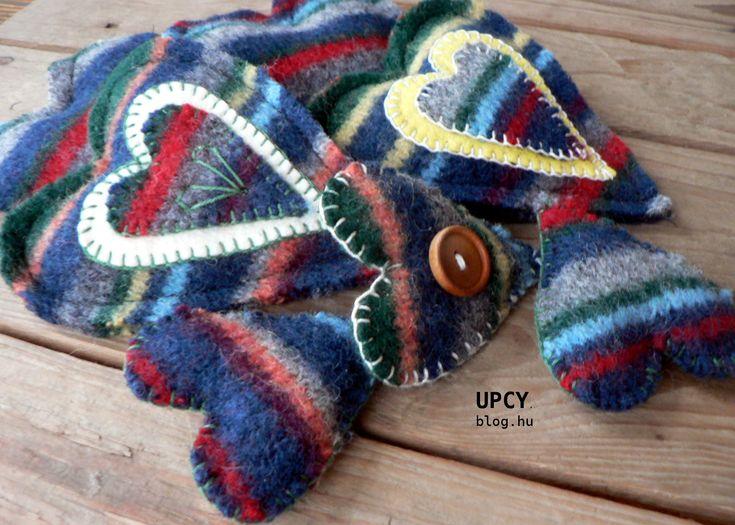 Gyapjú szívecskék - pulóver továbbhasznosítás, útmutató. Wool hearts - pullover upcycling, tutorial.