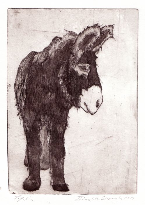 The kindness we show others reveals our most profound character / Etching, aquatint / Tiina M. Suomela, Finland