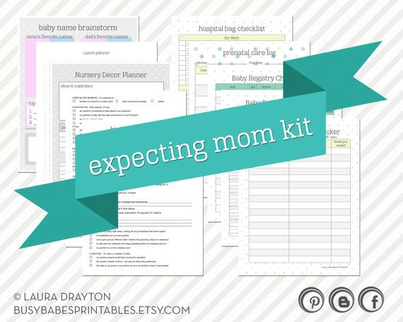 Expecting Mom Kit - Pregnancy Kit - Checklists, Birth Plan, and other printables for expecting mothers - INSTANT DOWNLOAD on Etsy, $8.00