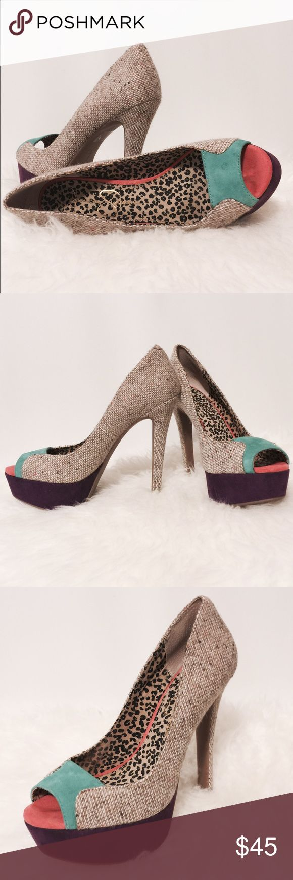 "⭐️ Jessica Simpson Multi Colored Platform Heels Sexy!!! Suede & Jute heels. Plum platform, teal accent, jute body and coral toe bed lined in animal print. Worn twice and really comfortable. 1 1/2"" platform 5 1/2"" heels Jessica Simpson Shoes Platforms"