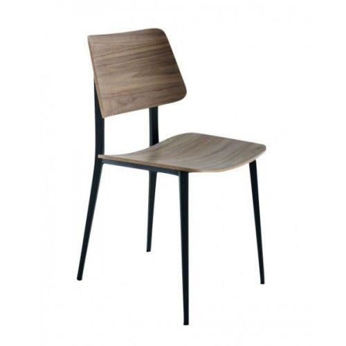 Vintage eettafel stoelen met 4 metalen strakke sierlijke poten in grafiet kleur. Met rug en zitting in gevlamd noten is deze vintage eettafel stoel inzetbaar in moderne en klassieke inrichtingen.