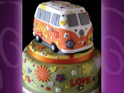 VW Bus Cake--can someone make this for me minus all the stickery-looking things? Ok thanks.