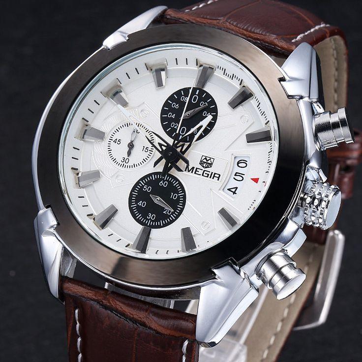 MEGIR Chronograph Casual Assista Homens de Luxo Da Marca Quartz relógio de Pulso relogio masculino Militar Relógio Do Esporte Dos Homens de Couro Genuíno em Relógios de quartzo de Relógios no AliExpress.com | Alibaba Group