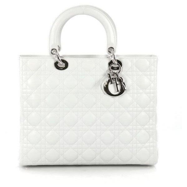 Christian Dior Lady Dior Handbag Cannage Quilt Lambskin Large (100,235 DOP)  ❤ liked on