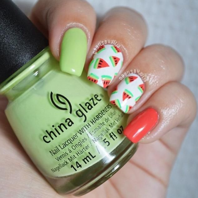 1783 best nails tutorials images on pinterest make up nail this summer heat and nails by have us craving some juicy watermelon she used china glaze shades be more pacific and treble maker prinsesfo Image collections