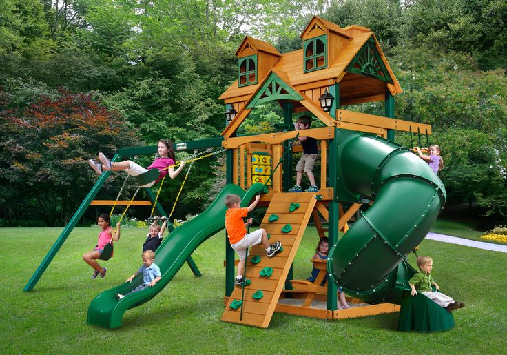 Gorilla Playsets Chateau w/Malibu Wood Roof Extreme Swing Set