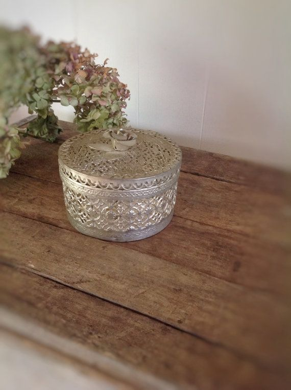 Vintage Potpourri Container Victorian Floral Tin Victorian Trivet Tray Vintage Metal Mesh Container Cottage Chic Bedroom Decor Floral Tin on Etsy, $10.00