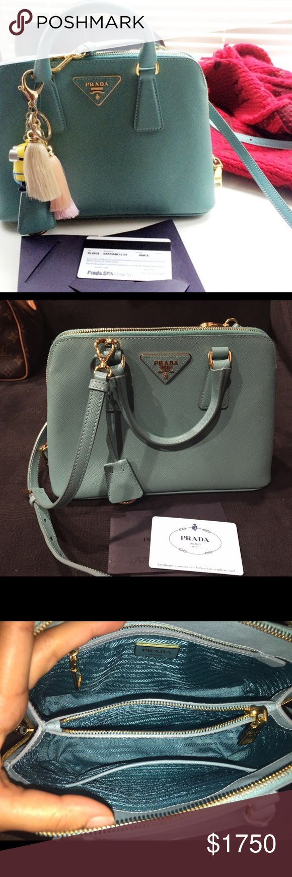 PRADA saffiano promenade small Promenade cross body in excellent condition. No damages perfect condition. I can provide additional pictures comes with authenticity card and dust bag. Please ask any questions will consider reasonable offers. NO TRADES. PRADA Bags